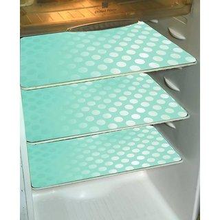 Refrigerator Drawer Mats/Fridge Mats/Refrigerator Mats Set Of 6 Pcs In Coin Design (Green, Medium)