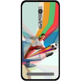 Snooky Printed Kick FootBall Mobile Back Cover For Asus Zenfone 2 - Multi