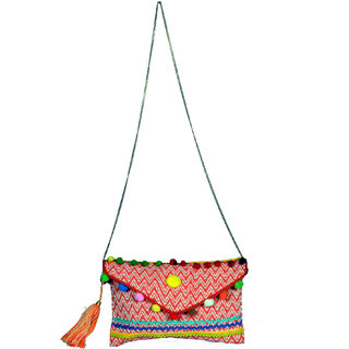 Orange Zig zag Clutch