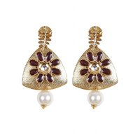 Rajwada Arts Stylish Drop Earring With Red Stone And Pearl