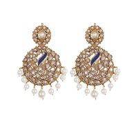 Rajwada Arts Stylish Peacock Earring With White Stones - 5364912