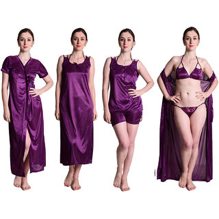 Senslife Women's Satin Purple Sleepwear Nightwear Set 6pc Set Nighty with Robe, Top  Shorts, Bra  Thong SL002A