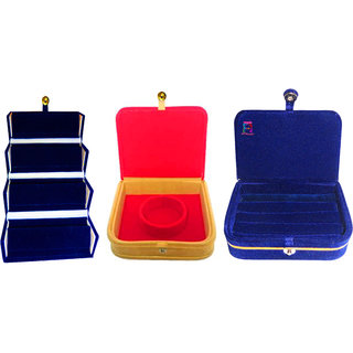 Atorakushon Multipurpose combo ring box earring box with Mini Bangle Bracelet Box Jewellery Box Travelling Box(Red)