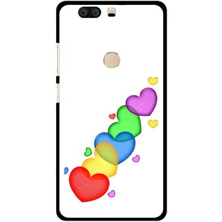 Snooky Printed Colorfull Hearts Mobile Back Cover For Huawei Honor 8 - Multi