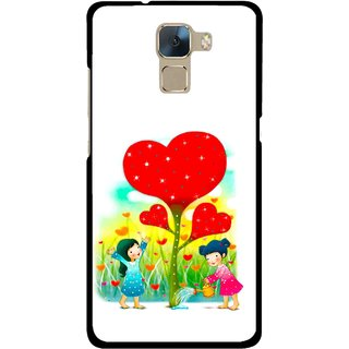 Snooky Printed Heart Plant Mobile Back Cover For Huawei Honor 7 - Multi