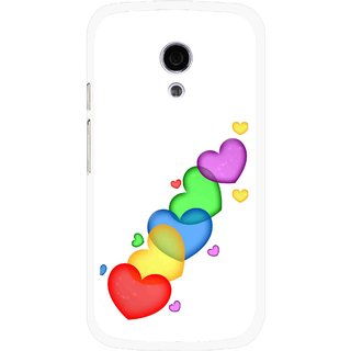 Snooky Printed Colorfull Hearts Mobile Back Cover For Moto G2 - Multi