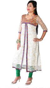 Disha world Designer Floral White Net Kurti