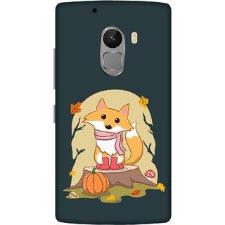 Print Opera Hard Plastic Designer Printed Phone Cover for lenovo a7010-vibek4note Fox cub on wood