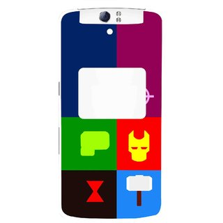 Snooky Printed Multi Heros Mobile Back Cover For Oppo N1 - Multi