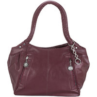 Sellebrity Maroon Plain Handbag