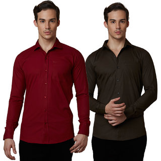 Lisova Set of 2 Men's Formal Shirt 100% Cotton Maroon and Brown