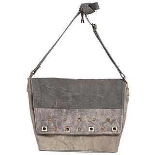 Mona B Canvas Up-Cycled Canvas Bag Utility Stud messenger size16wx11Hx5D