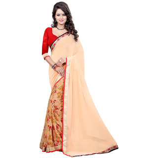 Glamorous Women's Georgette Saree With Blouse Piece
