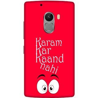 Print Opera Hard Plastic Designer Printed Phone Cover for lenovo a7010-vibek4note Karam kar kand nhi with red background