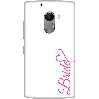 Print Opera Hard Plastic Designer Printed Phone Cover for lenovo a7010-vibek4note Pink bride written on white background