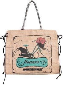 Mona B  Vintage flower bike Jute Market bag Size18w-15.5H-4.5D