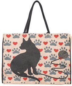 Mona B  cat love Jute Market bag Size18w-15.5H-4.5D