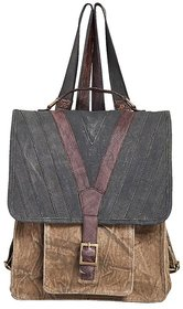 Mona B Canvas Up-Cycled  Canvas Bag  Brad backpack size12wx13''Hx5''D