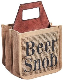 Mona B  Up-Cycled Canvas Beer SNOB size 8.5wx8''Hx7''D