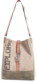 Mona B Up-Cycled Canvas Bag Explore Tote Bag  Size 13W - 16.5H 4D  24 Strap