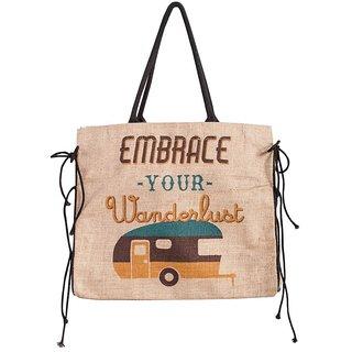 Mona B Embrace Jute Market bag Size18w-15.5H-4.5D