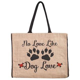 Mona B Dog love Jute Market bag Size18w-15.5H-4.5D