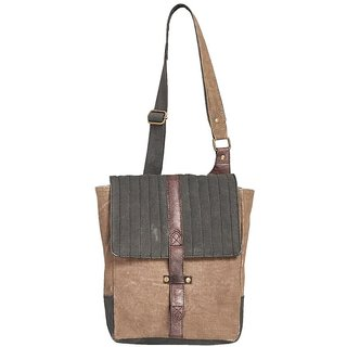 Mona B Canvas Up-Cycled  Canvas Bag brad crossbody size9wx11''Hx3.5''D