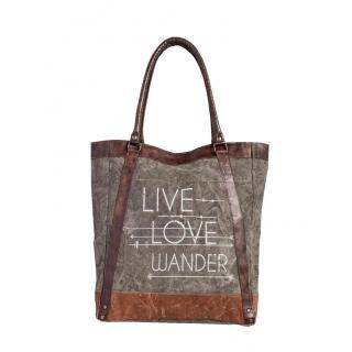 Mona B Up-Cycled Canvas bag Live Love Wander Tote Bag Size5 Deep x 14 Wide x 16 Tall