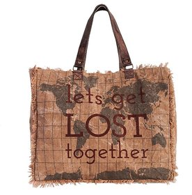 Mona B Up Cycled  Canvas Bag  Let's Get Lost Weekender  Bag  Size  19 W x 16 H x 8 D  10 Handle drop