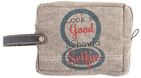 Mona B  Up-Cycled  Canvas Bag  Sparkle cosmetic makeup bag size Size 6W - 4.5H 2D  2 Handle