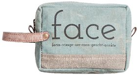 Mona B  Up-Cycled  Canvas Bag Make-up cosmetic makeup bag size Size 6W - 4.5H 2D  2 Handle