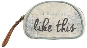 Mona B  Up-Cycled  Canvas Bag  Like This cosmetic makeup bag size Size 7W - 4.5H 2.5D  2 Handle