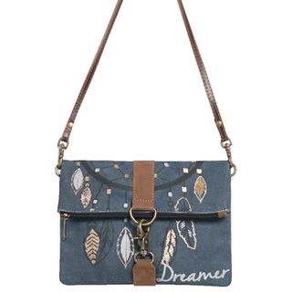 Mona B Up Cycled Canvas Bag Dreamer Foldover Crossbody  Size 9 W x 8 H x 2 D 23 Strap
