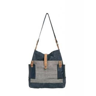 Mona B Up-Cycled Canvas Bag Chambray Tote bag 15 Wide x 14 Tall x 4D