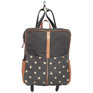 Mona B  Up-Cycled Canvas Bag Starlet Backpack  Bag  12 Wide x 14 Tall x 4D