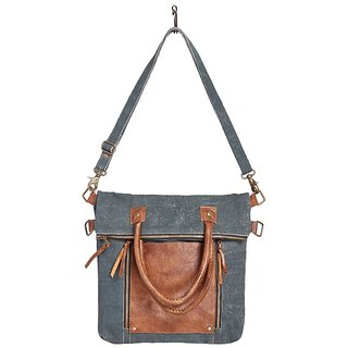 Mona B Up-Cycled Canvas Bag Fold Over Convertible bag 13 Wide x 18 Tall