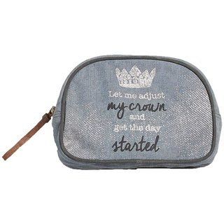 Mona B Up-Cycled Canvas Bag Crown cosmetic makeup bag size Size 9W - 6H 3D 2 Handle