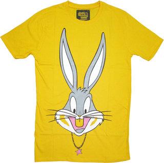 I Am Back Animal Print Men's Round Neck Yellow T-Shirt