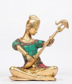 Arihant Craft Musician Lady Sitting with Sitar Idol Statue Stone Hand Craft Showpiece  16 cm (Brass, Multicolor)