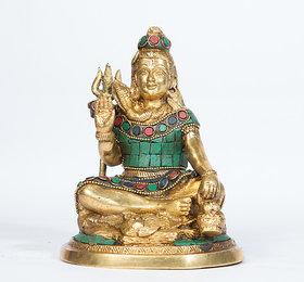 Arihant Craft Hindu God Shiva Idol Shiva Statue Mahadev Sculpture Stone Hand Work Showpiece15.5 cm (Brass, Multicolour)