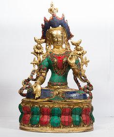 Arihant Craft Ethnic Decor Goddess White Tara Statue Sculpture Showpiece Hand Work   36 cm (Brass, Gold)