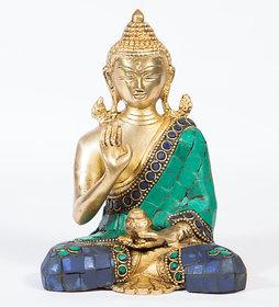 Arihant Craft Ethnic Decor Lord Buddha Idol Buddha Statue Sculpture Turquoise Stone Showpiece15 cm (Brass, Multicolour)