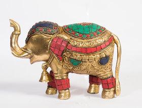 Arihant Craft Ethnic Decor Elephant Bell in Neck Statue Sculpture Showpiece Stone Work   14 cm (Brass, Multicolour)