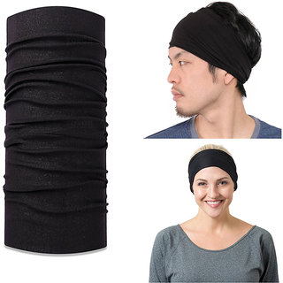 Verceys Black Unisex Headwrap, Bandana Daily Use Purpose - ( Free Size ) Pack Of 1