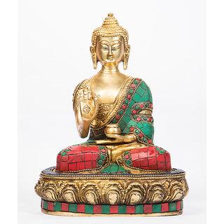 Arihant Craft Ethnic Decor Lord Buddha Idol Buddha Statue Sculpture Turquoise Stone Showpiece23 cm (Brass, Multicolour)