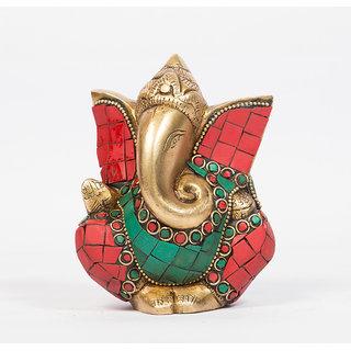 Arihant Craft Hindu God Ganesha Idol Ganpati Statue Sculpture Stone Hand Craft Showpiece  11 cm (Brass, Multicolour)