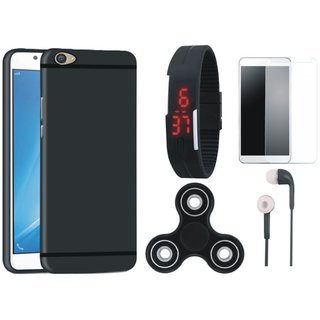 Lenovo K5 Plus Soft Silicon Slim Fit Back Cover with Free Spinner, Digital LED Watch, Tempered Glass and Earphones