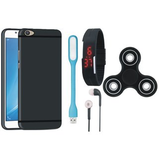 Lenovo K5 Plus Soft Silicon Slim Fit Back Cover with Spinner, Digital Watch, Earphones and USB LED Light