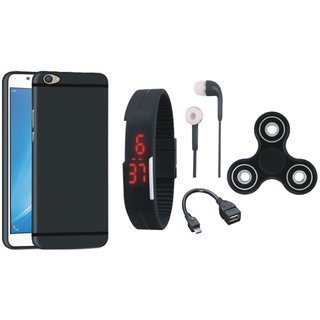 Lenovo K5 Plus Soft Silicon Slim Fit Back Cover with Spinner, Digital Watch, Earphones and OTG Cable