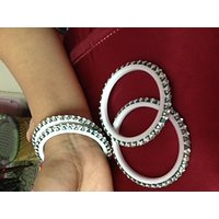 White Meenakari Studded With Stones Bangles
